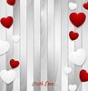 Vector clipart: Valentine hearts on light grey wooden texture