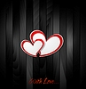 Vector clipart: Valentine hearts on black wooden texture background