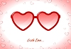 Vector clipart: Red sunglasses with Valentine heart shapes