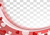 Vector clipart: Red wavy abstract background with hearts