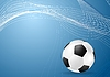 Vector clipart: Abstract blue wavy soccer background with ball