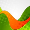 Vector clipart: Abstract grunge green orange wavy background