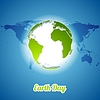 Vector clipart: Earth Day background with green globe and map