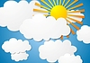 Vector clipart: cloudscape with sun