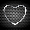 Vector clipart: Metallic heart on perforated background