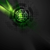 Vector clipart: Dark green hi-tech design with grunge texture