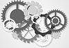 Grau Tech-Getriebe-Mechanismus Hintergrund | Stock Vektrografik