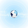 Vector clipart: Light blue tech background with globe