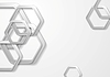 Vector clipart: Abstract grey paper tech hexagon shapes background