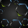 Vector clipart: Dark green blue geometric hexagons background