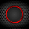 Vector clipart: Bright red ring on perforated metallic texture
