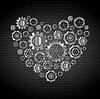Vector clipart: Love heart of tech metallic gears