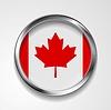 Абстрактный кнопка с металлической рамой. Канадский флаг