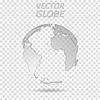 Vector clipart: Tech grey transparent globe world map design