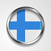 Vector clipart: Abstract button with metallic frame. Finnish flag