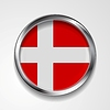 Vector clipart: Abstract button with metallic frame. Danish flag