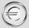 Vector clipart: Concept metallic euro symbol logo button