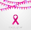 Vector clipart: Breast cancer awareness month. Pink flags and ribbo