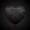 Vector clipart: Black polygonal heart background