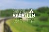 Camping logo emblem on summer blurred landscape