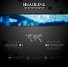 Vector clipart: Brochure tech template with blue web header banner