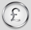Концепция символ кнопки логотип металлический фунт