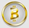 Векторный клипарт: Crypto валюта, золотой значок дизайн Bitcoin