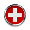 Абстрактный кнопка с металлической рамой. Швейцарский флаг