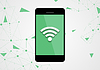 Wifi connection by mobile phone tech background