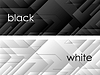 Vector clipart: Black and white tech geometric banners