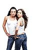 두 성 여자가 청바지를 입고 | Stock Foto
