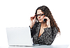 Beautiful business woman talking on cellphone while sitting | Stock Foto