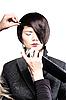 모델의 머리를 고정 | Stock Foto