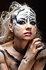 White tiger - beautiful model with bodypainting | Stock Foto