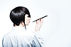 Photo 300 DPI: woman with fashion haircut holding cigarette holder