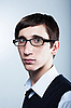 Young guy with fashion haircut wearing glasses | Stock Foto