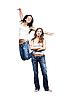 두 감정 여자는 흰색 배경에 고립 | Stock Foto