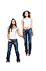 Two emotional girlfriends wearing jeans, isolated on white | Stock Foto