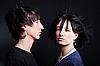 可爱的年轻夫妇与时尚理发 | 免版税照片