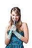ID 3024216 | Młoda, ładna dziewczyna śpiewa do mikrofonu retro | Foto stockowe wysokiej rozdzielczości | KLIPARTO