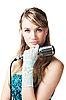 ID 3024217 | Pretty young girl gospodarstwa retro mikrofon | Foto stockowe wysokiej rozdzielczości | KLIPARTO