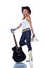 Фото 300 DPI: девушка-ковбой держит акустическую гитару
