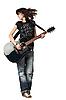 어쿠스틱 기타를 연주 십 대 소녀 | Stock Foto