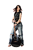 Teenager girl holding acoustic guitar | Stock Foto