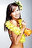 Beautiful exotic girl with Hawaiian accessories | Stock Foto