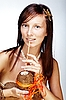 美丽的异国情调的女孩,夏威夷配件 | 免版税照片