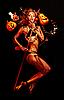美丽的魔鬼三叉戟和万圣节的南瓜 | 免版税照片