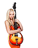 Teenage girl holding bass guitar | Stock Foto