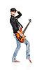 펑크 소녀는 기타를 잡고 노래 | Stock Foto