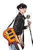 기타를 잡고 노래 바위-n-롤 소녀 | Stock Foto